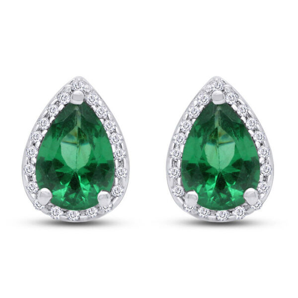Black Friday 14K Green Emerald and Natural Diamond 1.42 ctw White Gold Earrings