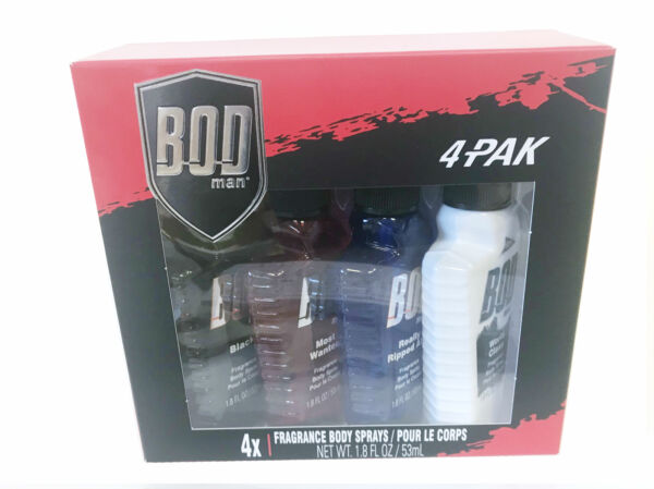 BOD MAN BLACK MOST WANTED RIPPED ABS WORLD CLASS Body Spray 1.8 oz 4 Pc SET