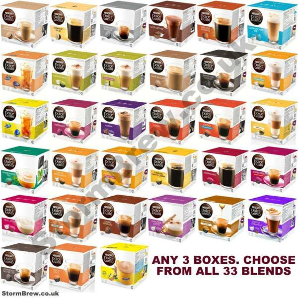 3 BOXES OF NESCAFE DOLCE GUSTO COFFEE CAPSULES PODS. 33+ BLENDS. FREE USA POST