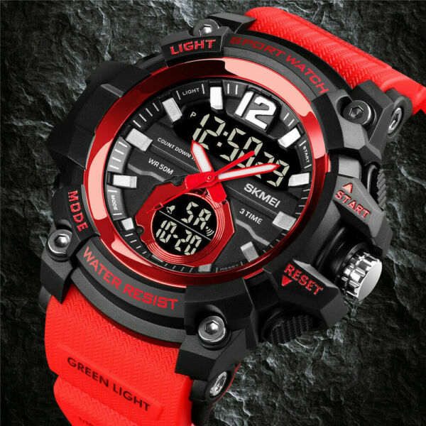 SKMEI 1725 Men#x27;s Military Waterproof Sport Time Alarm Digital Analog Wrist Watch