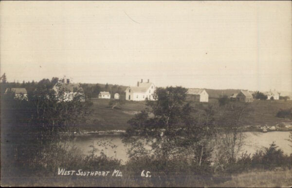 West Southport ME View of Homes Across River c1910 Real Photo Postcard