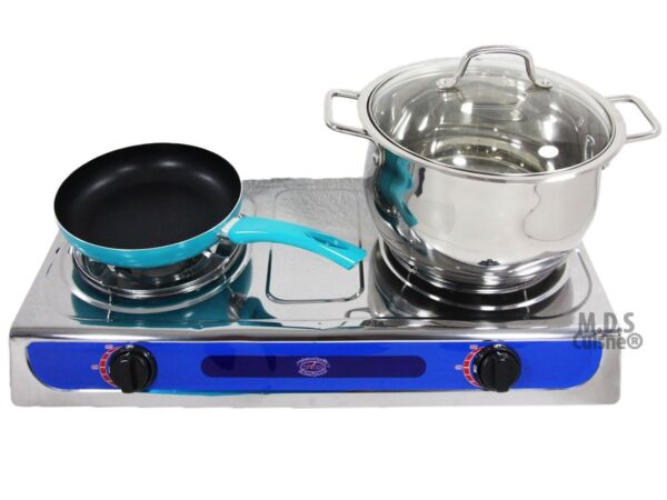 Double Head Propane Gas Burner Portable Camping Outdoor Stove Camping Stainless $54.99
