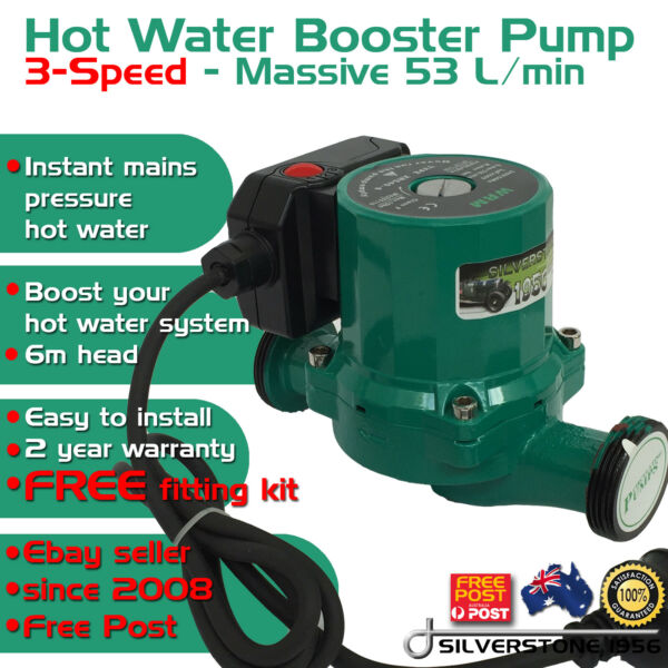 New 3 Speed In-Line Hot Water Circulation Heating Booster Solar Pump 1.5