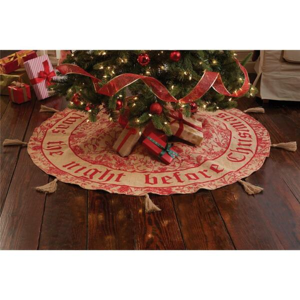 Mud Pie Twas the Night Before Christmas Burlap Tree Skirt 58quot; Round 4264234 New