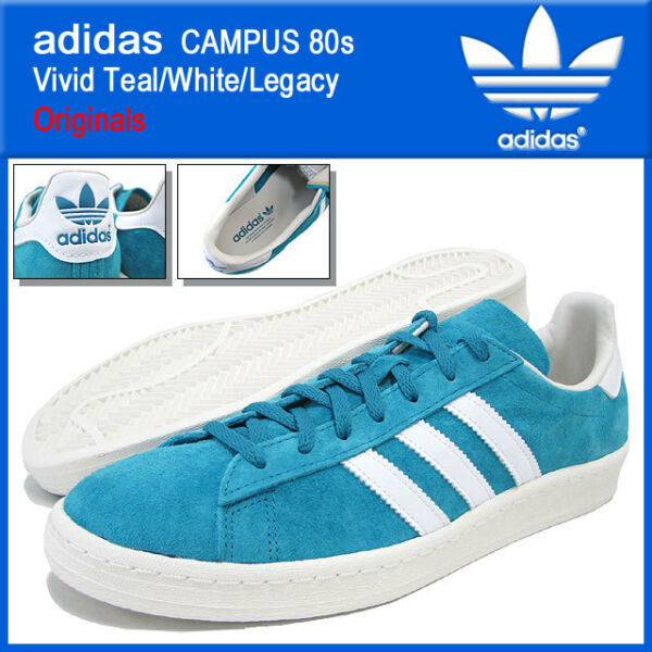 NEW in BOX Retro adidas Originals Campus 80s Vivid Teal & White Shoes Size 10.5!