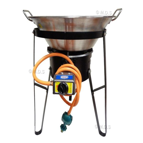 Cazo Stainless Steel Large 22quot; Widespread Heavy Duty w Burner amp; Stand Set Comal