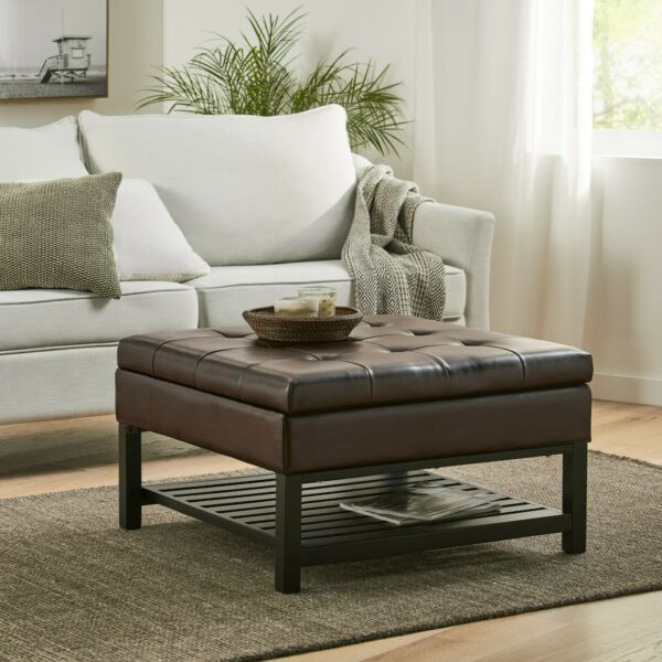 Finn Tufted Brown Leather Square Storage Ottoman Coffee Table