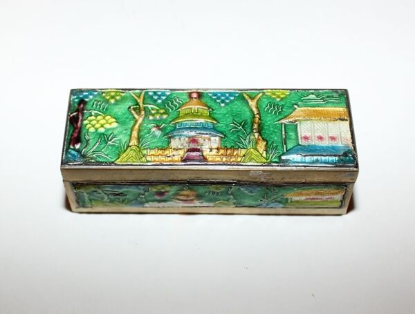 Vintage Chinese Cloisonne Brass Enamel Stamp Box - Temple