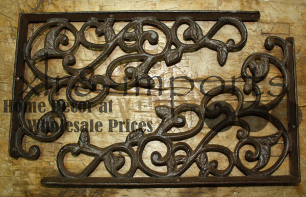 2 Cast Iron Antique Style LEAVES amp; VINE Brackets Garden Braces Shelf Bracket