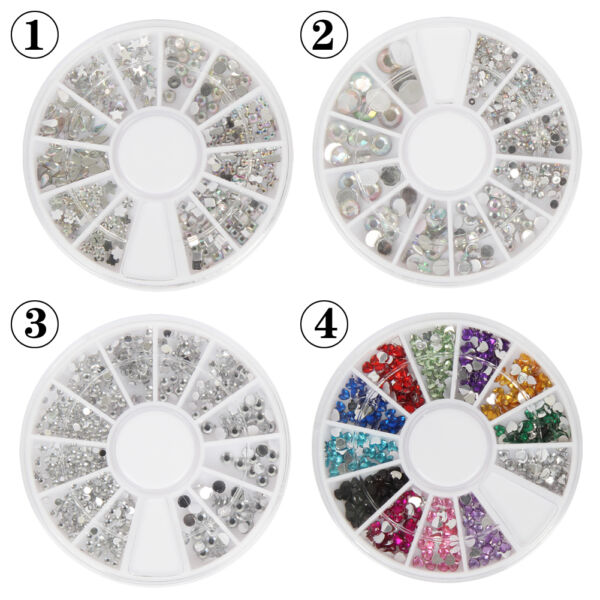 Colorful Nail Art Rhinestones Gems 3D Nail Art Decorations Manicure Wheel