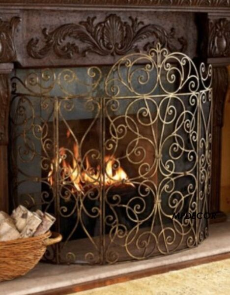 French Scroll Old World Antique Gold Iron Fireplace Screen 5 Panel Large 62