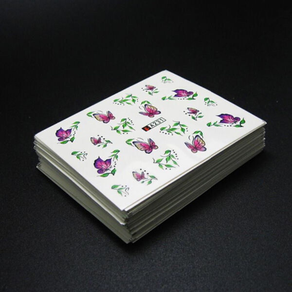 Lot  50 Sheets Flower Water Transfer Manicure Nail Art Stickers Decals DIY Tips