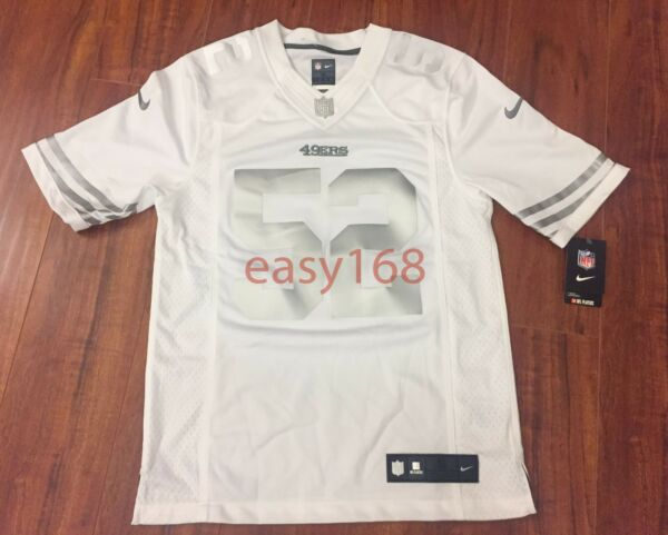 New Nike 49ers 52 Patrick Willis Jersey Sz S Mens NFL White SF PLATINUM Small