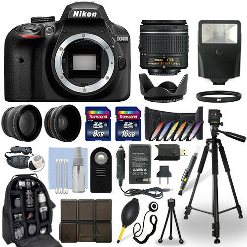 Nikon D3400 DSLR Camera + 18-55mm NIKKOR Lens + 24GB Multi Accessory Bundle