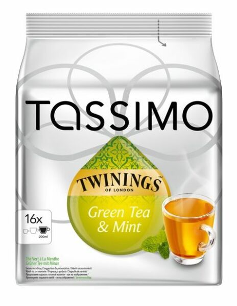 32 TASSIMO TWININGS GREEN TEA & MINT T-DISCS CAPSULES PODS T DISCS: 2 FULL PACKS