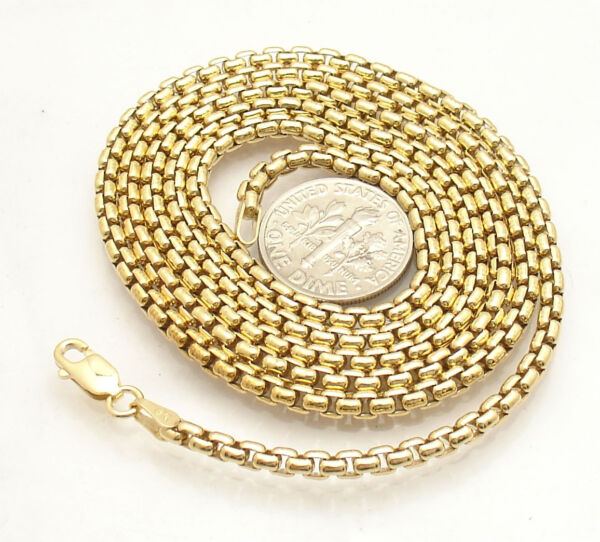 2.5mm Solid Round Box Chain Necklace 14K Yellow Gold Clad 925 Silver 30quot; 36quot; $64.20
