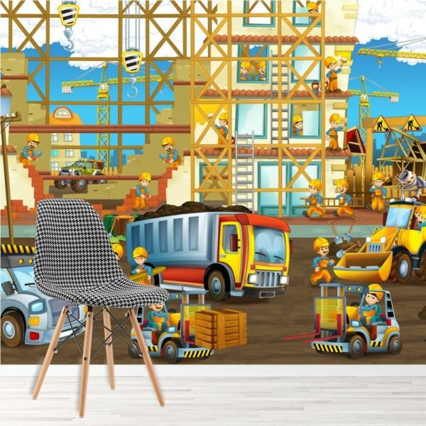 Construction Site Wall Mural Truck Digger Photo Wallpaper Boys Bedroom Decor