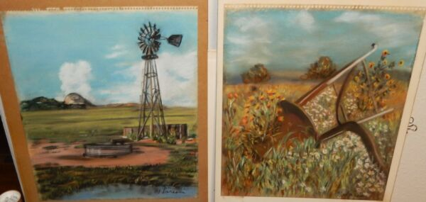PAIR OF M.LARSON WINDMILL AND FARM TOOLS ORIGINAL PASTEL PAINTINGS