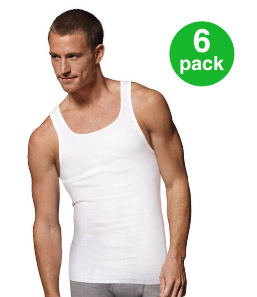 BEST VALUE! Men's Tank Top PACK OF 6: Athletic A-shirtWife Beater100% Cotton