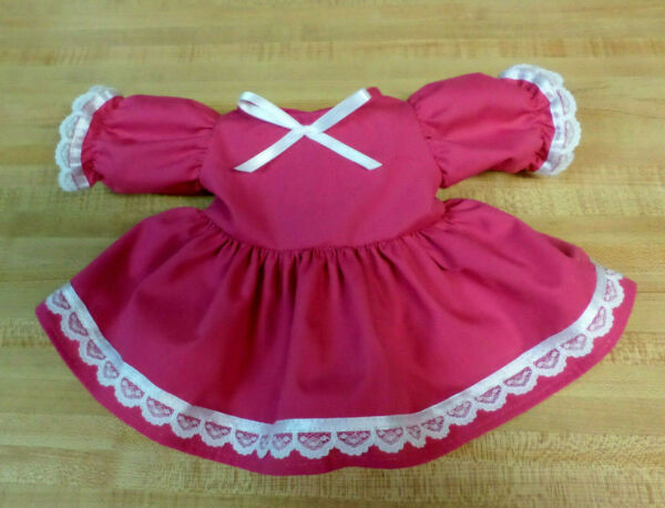 DRESS Rose Red Pink wlace+ ribbon+ flower trims for 16