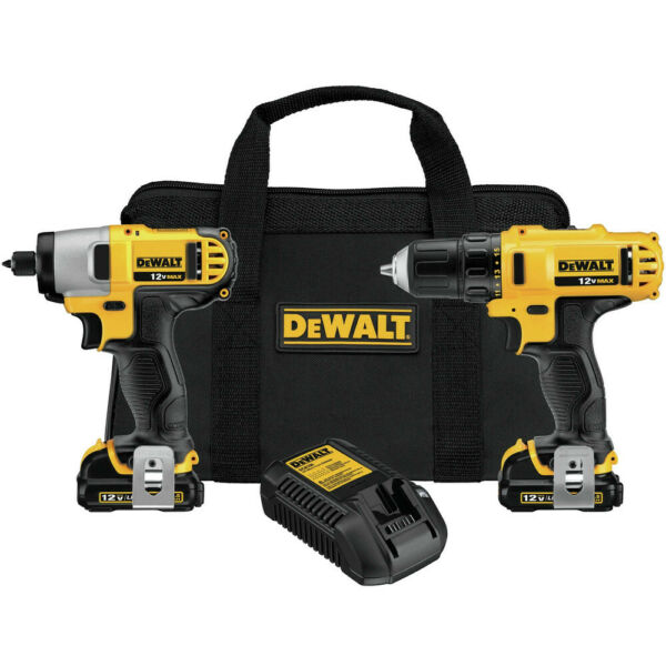 DEWALT 12V MAX Cordless Lithium-Ion Drill/Impact Driver Combo Kit DCK211S2 New