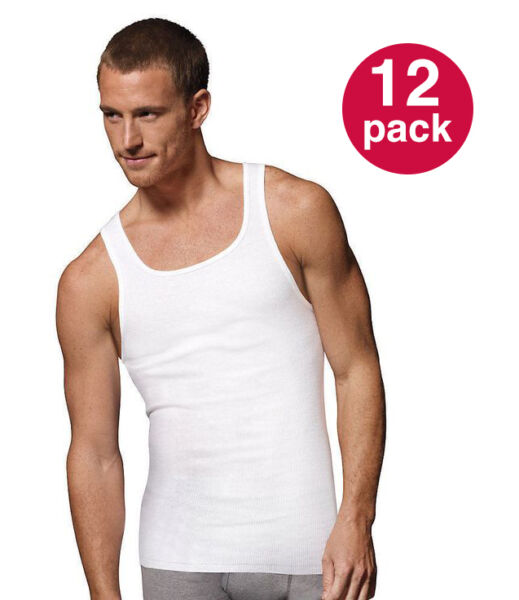 WHOLESALE Men#x27;s Tank Top PACK OF 12: Athletic A shirt Wife Beater 100% Cotton