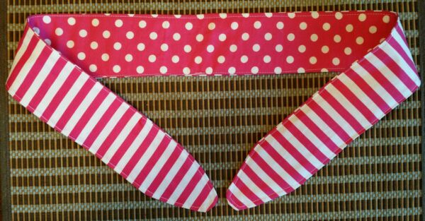 Pinup Style Headband Scarf Hair Wrap Tie Reversible Handmade Sexy Hot Pink Dot