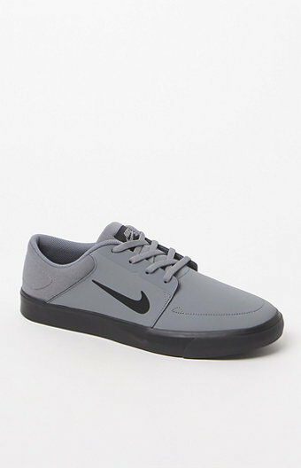 MEN'S GUYS NIKE SB PORTMORE NB GRAY SKATEBOARDING SHOES SNEAKERS NEW $85 002
