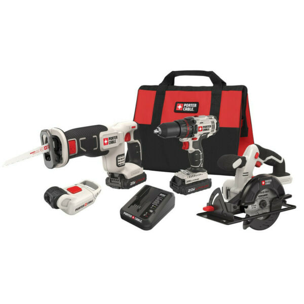 Porter-Cable 20V Max Cordless Lithium-Ion 4-Tool Combo Kit PCCK616L4 New