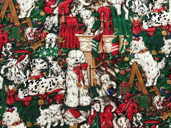 Cotton Quilt Fabric Christmas Dogs Erlanger BTHY $5.99