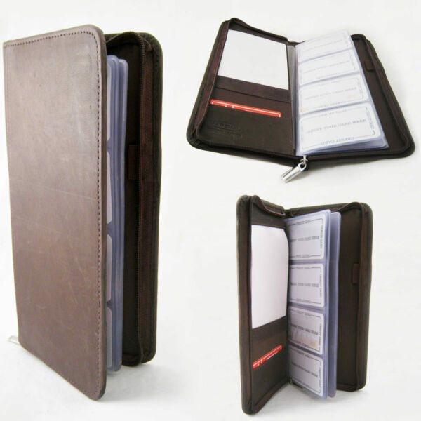 Genuine Leather Business Card Holder 160 Cards Organizer Book IDs Cards Brown !!