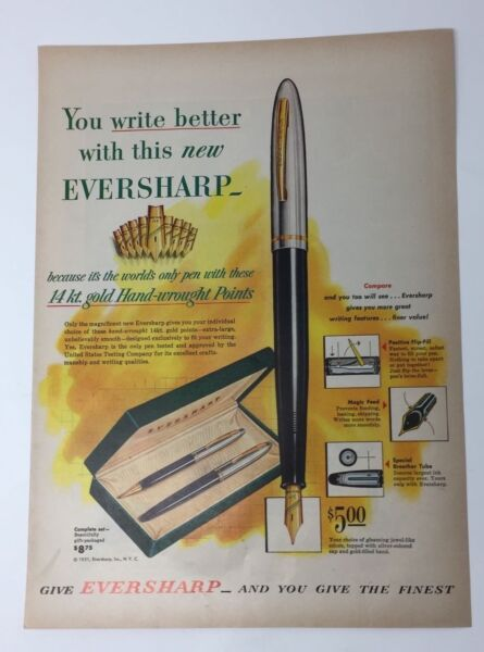 Original Print Ad 1951 Vintage EVERSHARP Pens Pen Give the Finest Set
