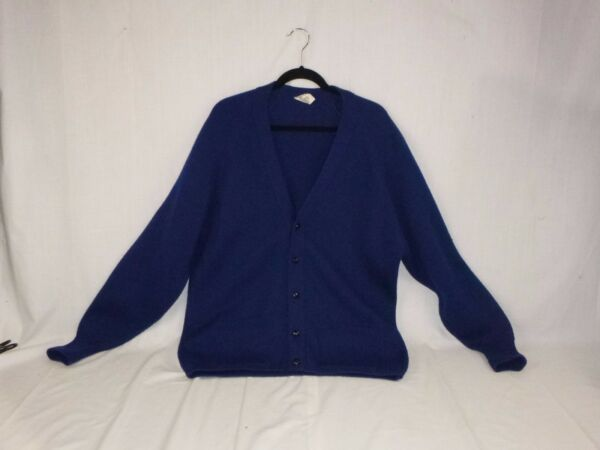 Vintage Mens St Michael Navy Wool Blend MOD 1950 1960s Chunky Knitted Cardigan L $29.00