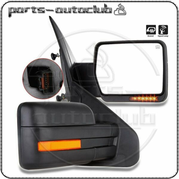 Left+Right 2007-2014 Ford F150 Power Heated LED Signal Puddle Light Side Mirrors