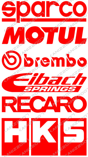 9 Racing Car Sponsor Decal Pack custom color JDM Racing Stickers