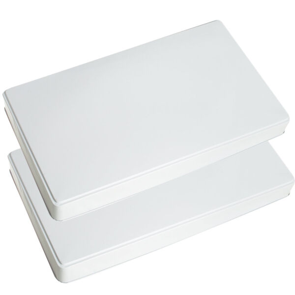 Gas Stove Burner Covers Extra Deep White Rectangular Easy Fits Most Rages Set x2