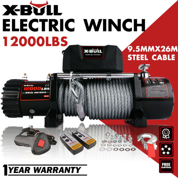 X-BULL 12000LBS Electric Winch 12V Towing Truck Trailer Steel Cable Off Road