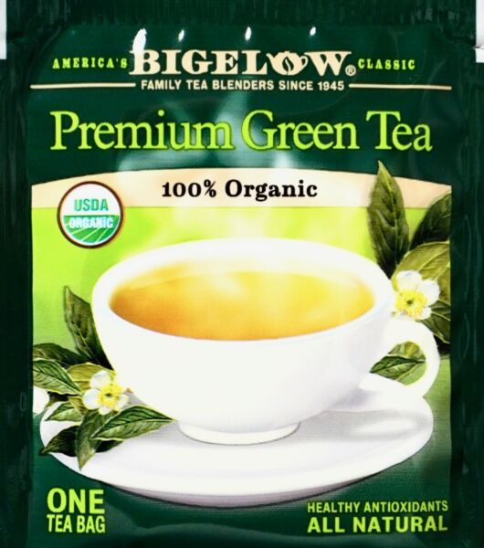 Bigelow Premium Chinese Green Tea 100% USDA Organic Individually Wrapped Tea Bag