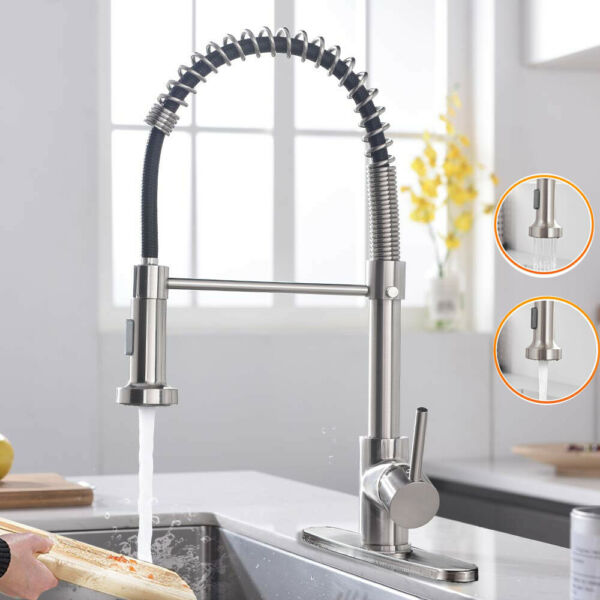 Kitchen Sink Faucet Single Handle Pull Down Sprayer Brushed Nickel Mixer Tap