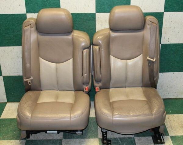 03-06 Denali Tan Leather Dual Power Electric Heated Memory Seats Buckets Armrest