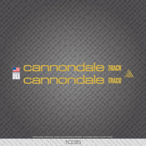01035 Cannondale Track Bicycle Stickers Decals Transfers Gold GBP 14.99