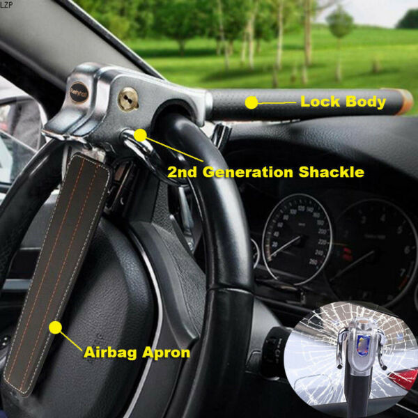 Anti Theft Lock Car Vehicle Top Mount Safety Steering Wheel Security with 2 Keys