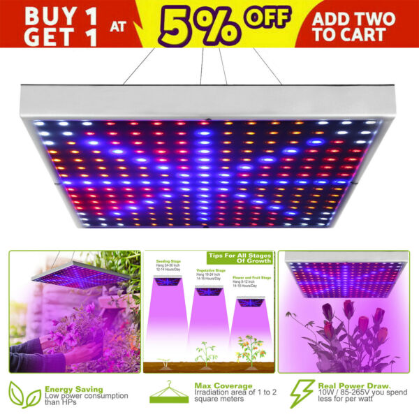 Full Spectrum 225 LED Plant Grow Light Veg Lamp Indoor For Hydroponic Plant 10W