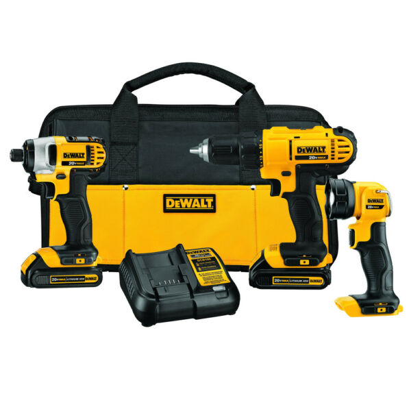DEWALT 20V MAX 1.5 Ah Cordless Lithium-Ion 3-Tool Combo Kit DCK340C2 new