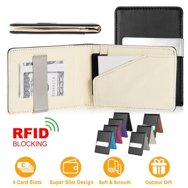 Mens Slim Genuine Leather Bifold Wallets Money Clip ID Credit Card Clutch Purse