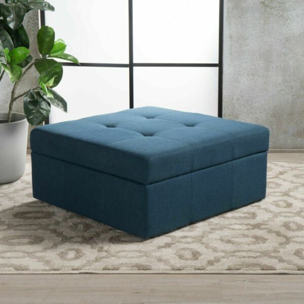 Channing Square Tufted Fabric Storage Ottoman Coffee Table With Casters