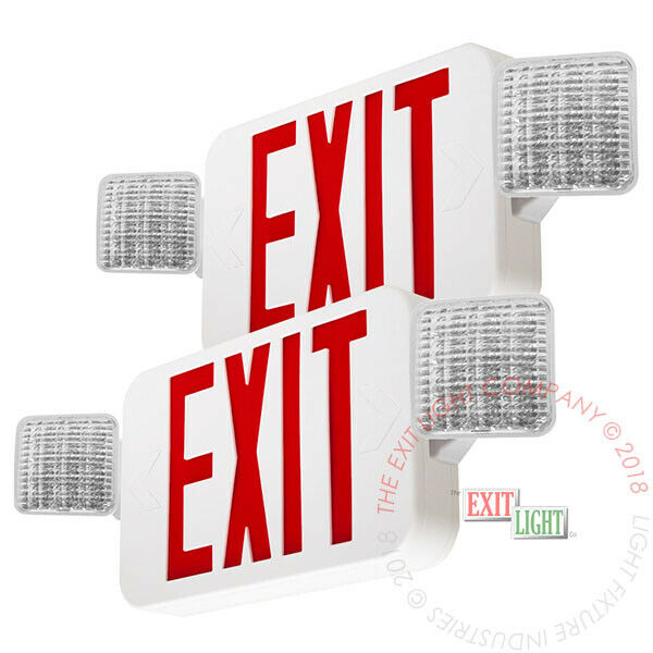 2Pack - Red ALL LED Exit Sign Emergency Light Square Head Combo - UL924 COMBOR2