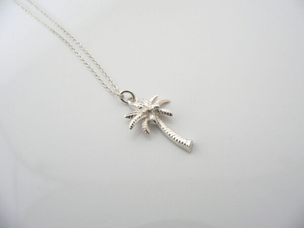 Tiffany & Co Silver Nature Palm Tree Summer Necklace Pendant Charm 17.5 In Chain