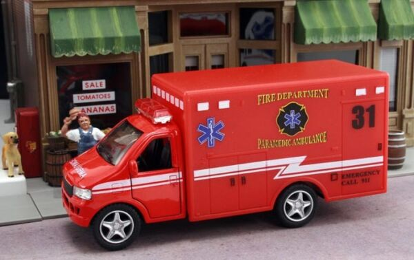New Red Paramedic Ambulance Fire Dept. Approximately 1 43 Scale