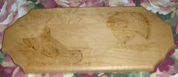 VINTAGE RUFFLED GROUSE BIRD WOOD CARVING PYROGRAPHY MAINE ARTIST ART PICTURE